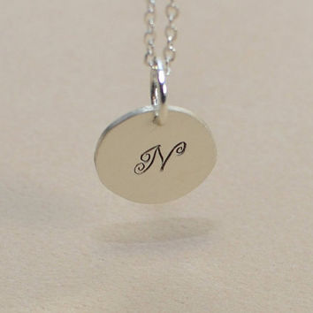 Dainty Sterling silver personalized monogram initial charm necklace or pendant