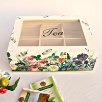 Unique woodenTEA box/ Kitchen decor/ Flower garden/ Home decor