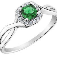 Emerald Ring with Diamonds in 10K White Gold:Amazon:Jewelry