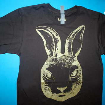 free shipping etsy, rabbit t shirt, mens brown tee, brown tee, mens clothing, rabbit shirt, 1AEON brown tee with Golden Rabbit, mens S-XXL