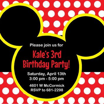 Mickey Mouse Kids Birthday Party Invitations