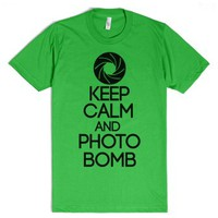 Keep Calm Photo Bomb Shirt-Unisex Grass T-Shirt