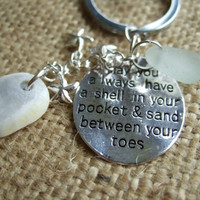 Scottish sea glass keepsake 'May you always have a shell in your pocket and sand between your toes' charm, sea glass/pottery, shell & stars