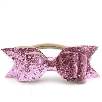 Nylon Headband Women Baby Girl 12cm Big Glitter Hair Bow