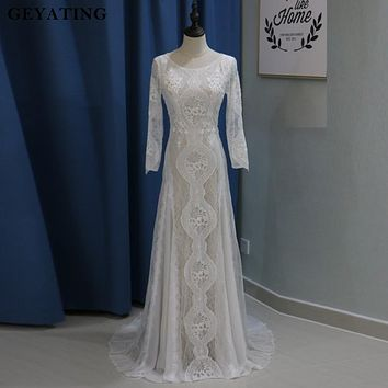 Vintage Lace Long Sleeves Boho Beach Wedding Dress Mermaid Open Back Bohemian Wedding Dresses 2018 Robe de Mariage Court Train