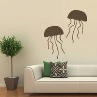 Wall decal decor decals art sticker jellyfish sea ocean animal shellfish scuba animal shellfish scuba diveive (m397)