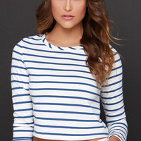 Glamorous Nautical or Nice Blue and White Striped Crop Top