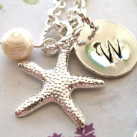 Silver Starfish Necklace, Personalized Necklace, Pearl Necklace, Ocean Jewelry, Beach Jewelry, Wedding Jewelry, Bridal Jewelry