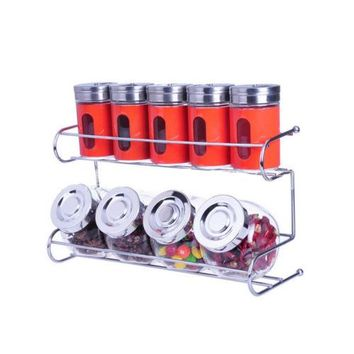 9 Canister Metal & Glass Spice Shakers Glass Jars 2 Tier Wire Rack Display  RED