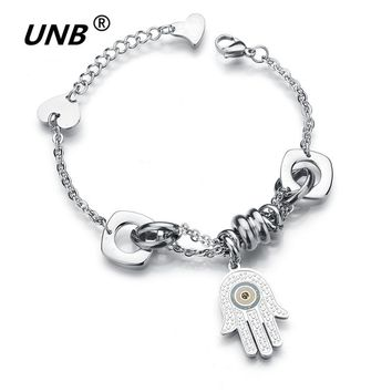 UNB 2017 Fashion Stainless Steel Hamsa Hand Evil Eye Heart Charm Bracelet Women Silver Adjustable Expandable Wire Bangles L4030