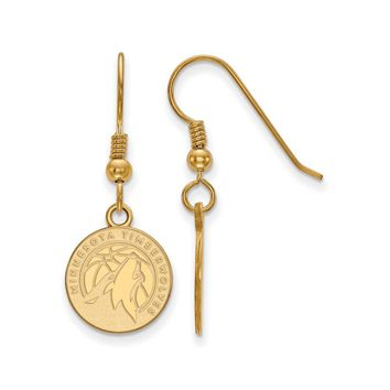 NBA MN Timberwolves 14k Gold Plated Silver SM Disc Dangle Earrings