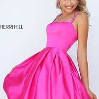 Short Sherri Hill Fit and Flare Prom Dress