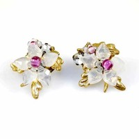 White/Pink Glass Floral Clip Earrings 1940'S