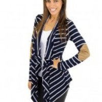 Navy Striped Cardigan With Elbow Patches