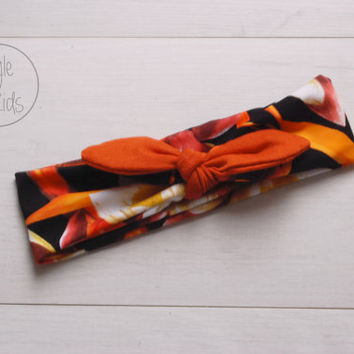 Water Lilly Print Top Knot Headband with RUSTY Bow Headband Knot Toddler Headband Head Wrap Baby Bow Headband Newborn Knot Headband