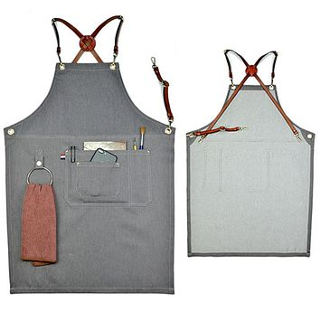 Denim Pocketed Apron w/Leather Strap