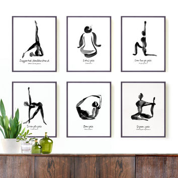Yoga print Set of 6, 8x10 watercolor art, Black ink drawing, Yoga studio decor, Black and white art, Zen, Black ink painting, Asian art