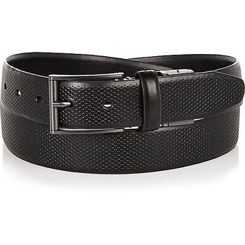River Island MensBlack perforated belt