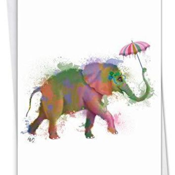 Funky Rainbow Wildlife: Belated Birthday Greeting Card With a colorful, umbrella-toting elephant, Funny Birthday Card - Free Shipping