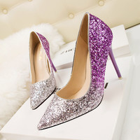 High Heel Korean Sexy Pointed Toe Slim Patchwork Shoes [9521819661]