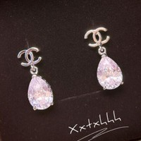 Super Shiny Zircon Earrings Retro Temperament Simple Long Drop Crystal Earrings I12615-1