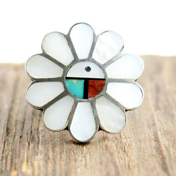 Vintage Sterling Silver Zuni Ring - Size 6 Native American Mother of Pearl, Coral, Onyx, & Turquoise Jewelry / Kachina Sun
