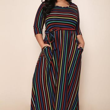 Stripe Pattern Plus Size Maxi Dress