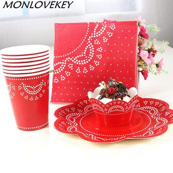 56pcs Red Lace Dinner Paper Tableware Set Wedding Supplies Plates Cups Cupcake Wrappers Carnival Party Decor Supplies Tableware