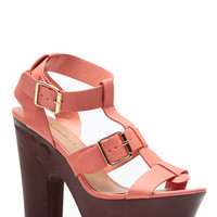 Breckelles Peach Extra Chunky Buckle Heels