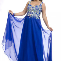 Royal Blue Beaded Bodice Chiffon Sweep Train Plus Size Prom Dresses / Homecoming Dresses party time 6245 - Missyprom.com