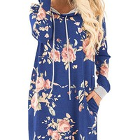 Royal Blue Hoodie Dress with Pockets