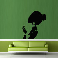 Wall decal decor decals sticker art girl salon beauty hair hairstyle stylist fashion Glamour haircut (m353)