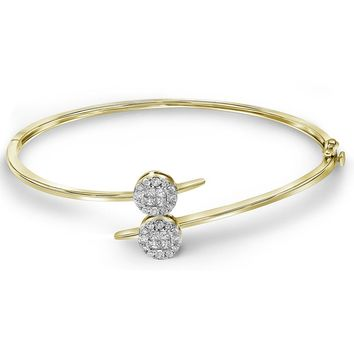 14kt Yellow Gold Womens Princess Round Diamond Double Cluster Bangle Bracelet 3/4 Cttw