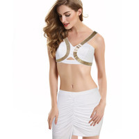 White Bralet Top and Asymmetrical Ruched Midi Skirt