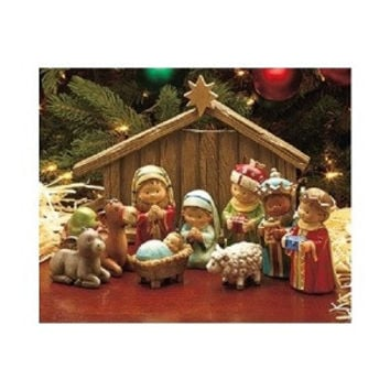 Christmas Nativity Set Scene Birth of Christ Ceramic Baby Jesus Manger 3 Kings