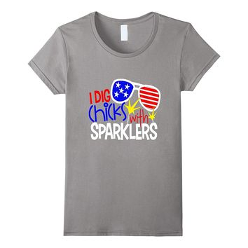 July 4th Shirt Son America Funny I Dig Chicks With Sparklers