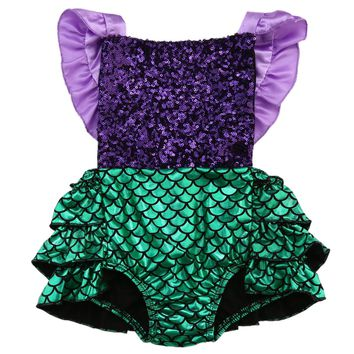 Newborn Toddler Baby Girl Sequins Mermaid Romper Jumpsuit Sunsuit One-Pieces Outfits 0-24M