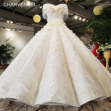 LS74855 2018 Luxury wedding dress sweetheart off shoulder ball gown lace up back Handwork bridal wedding gowns real  as photos