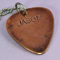 Custom Men's Guitar Pick Handstamped necklace - Custom Hand Stamped necklace personalized for you - perfect for Father's Day