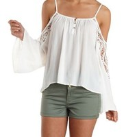 White Crochet Bell Sleeve Cold Shoulder Top by Charlotte Russe