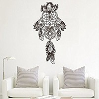 Wall Decal Vinyl Sticker Decals Art Decor Design Dreamcather Dream Cather Symbol Feathers Peacock Flowers Bedroom Dorm Modern Style (r374