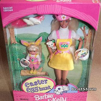 Licensed cool BARBIE Doll & KELLY EASTER Egg Hunt Basket Bunny Eggs TARGET EXCLUSIVE NEW 1997