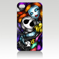 Tim Burton's The Nightmare Before Christmas Jack & Sally Stained Glass Hard Plastic iPhone 4, 4s, 5 Case Cover