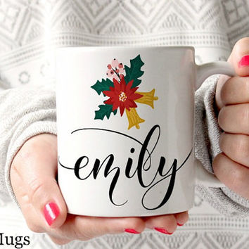 Personalized Coffee Mugs, Custom Name Mugs, Christmas Coffee Mug, Coffee Mugs for Her, Christmas Gift, Xmas Gifts, Personalized Gift (PC211)