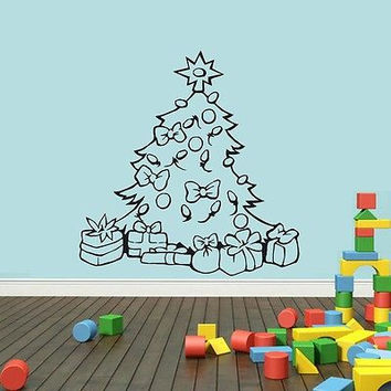 Wall Mural Vinyl Sticker Decal сhristmas tree bows toys gifts garland DA1717