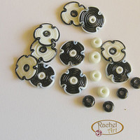 Lampwork Beads, Lampwork Flower Glass Beads, Black and White Handmade Lampwork Glass Beads Disc Set (18 )