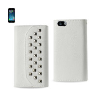 REIKO IPHONE SE/ 5S/ 5 STUDS WALLET CASE IN WHITE