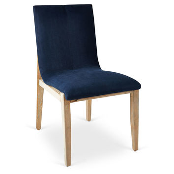 Olympia Linen Side Chair, Navy, Side Chairs