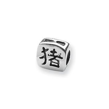 Sterling Silver Chinese Good Luck Bead Charm