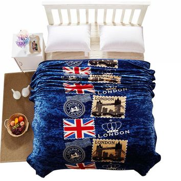 Fashion flags stamps deep blue throw blankets multifunctional coral fleece linens summer bedsheet multisize plaids bedspread